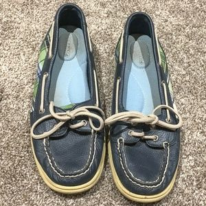 Blue/Green Plaid Leather Sperry Topsiders. 8M.